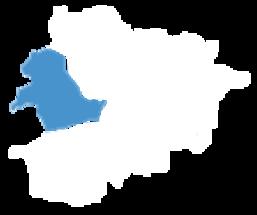 Mapa de Andorra com a divisão administrativa de La Massana selecionada.